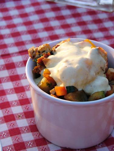 vegetebles and turkey sautè with horseradish-yogurt sauce