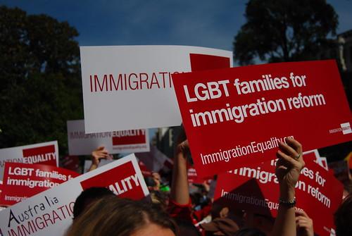 Crowd of LGBT immigration reformers gathers in Washington