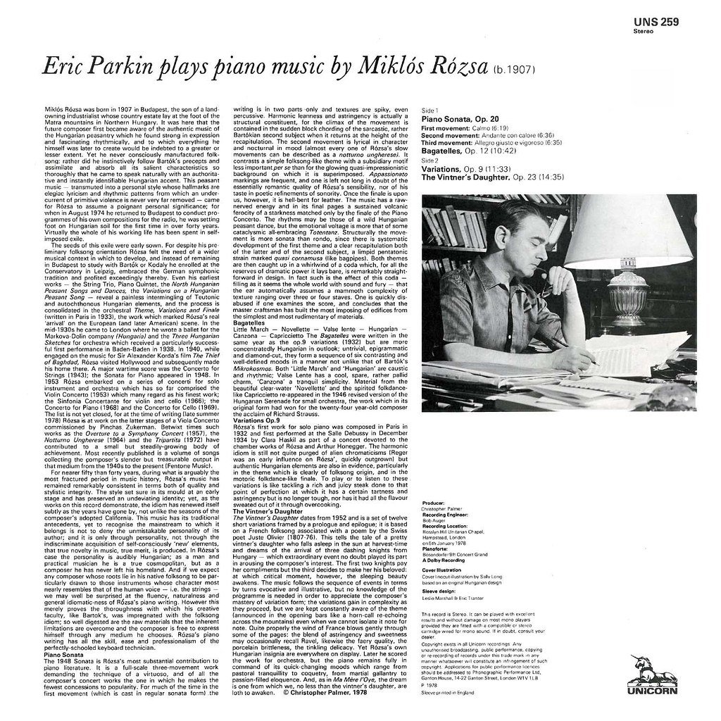 Eric Parkin Plays Piano Music of Miklos Rozsa