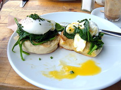 poached eggs on toasted muffins