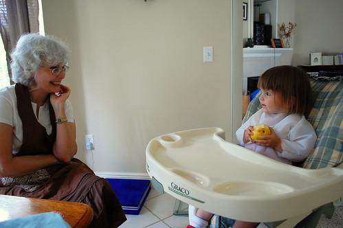 Pears with grandma.