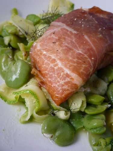 Salmon in Prosciutto with Broad Bean, Courgette and Fennel Salad by you.