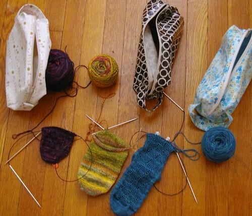 3 socks in progress