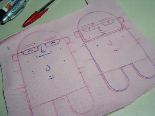 Verso do courinho de mini-mi, mostrando a ilustração base que fica dentro do boneco