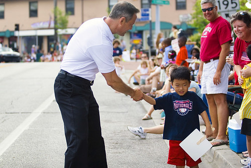 Maryland Governor Martin OMalley shakes hands with a shy five-year-old Jacob Petruzzelli of Silver Spring during Takoma Parks 120th annual Independence Day parade on July 4, 2009.