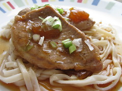 apricot-glazed pork with udon