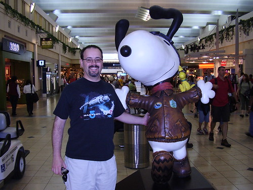 Scott and Snoopy at the Lindbergh Terminal.