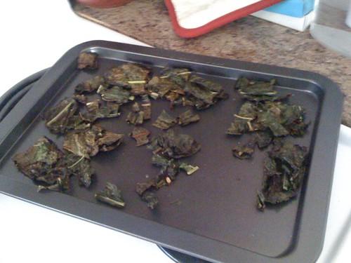 kale chips on the baking sheet