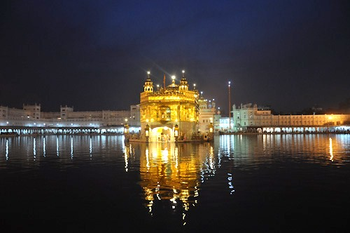 The golden temple all lit up.