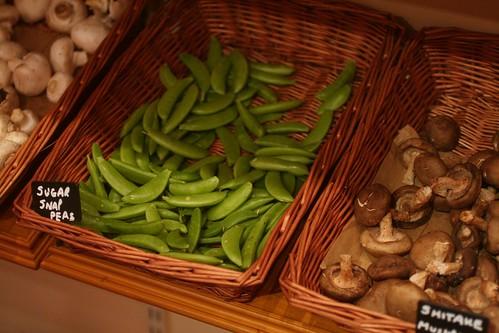 sugar snap peas and mushrooms