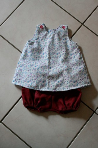 Ensemble : robe trapèze + bloomer - 6 mois