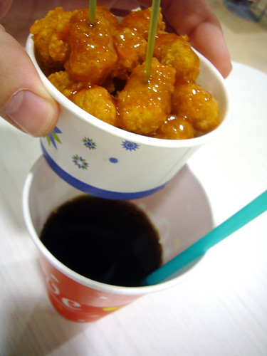 Chicken on top, coke on the bottom!
