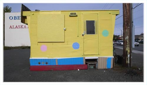 Shuttered espresso hut, midtown Anchorage.