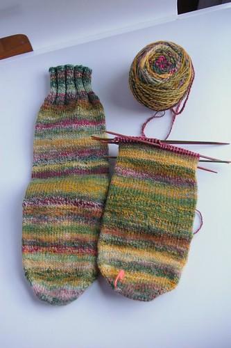 Rasta Rasta socks, just a leg left to go
