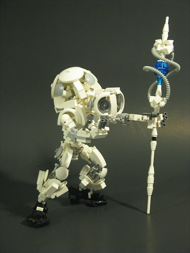 White LEGO mecha with staff