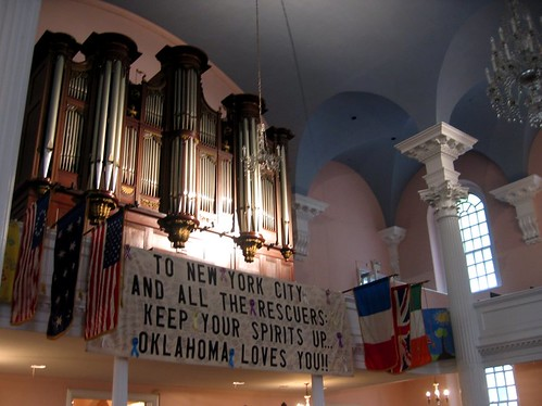 Oklahoma Loves You banner in St. Pauls Chapel.