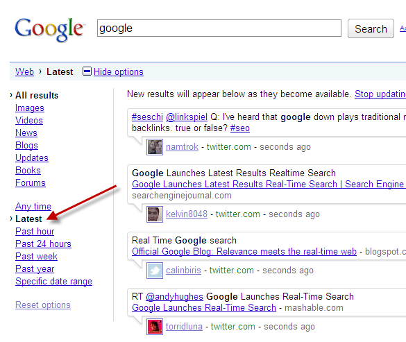 Google Options Before Real Time Search