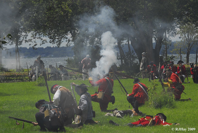 Tough to see the enemy with all this smoke! - Plains of Abraham Re-Enactment, Founders Day 2009, Ogdensburg, New York