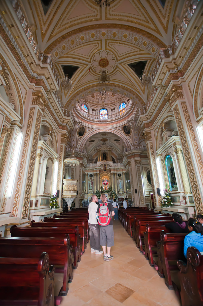 Inside the church in Cholula