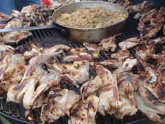 Ohio pheasant cooking on a grill borrowed from Jim Budros