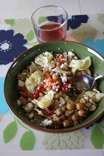 quinoa with veggies, pomegranate green tea