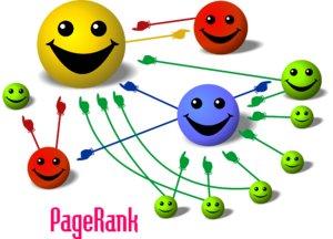 Nessa ilustração, uma simplificação do sistema do PageRank, cada bola representa uma página e o tamanho de cada uma a sua importância (PageRank). Quanto maior a bola, mais valor tem seu voto: repare que a bola superior vermelha é grande mesmo recebendo só um voto, pois o voto que ela recebe, da bola maior amarela, tem mais valor. Imagem CC-by-SA retirada do Fã-Clube do Google