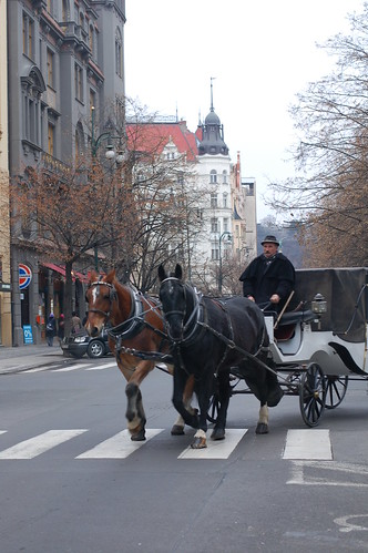 Horse carriage on Parížská Street