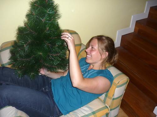 Lindsay fixing the tree