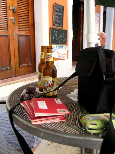 having beers and finishing our christmas cards in san juan