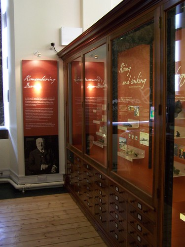 Series of displays showing current research influenced by Darwin