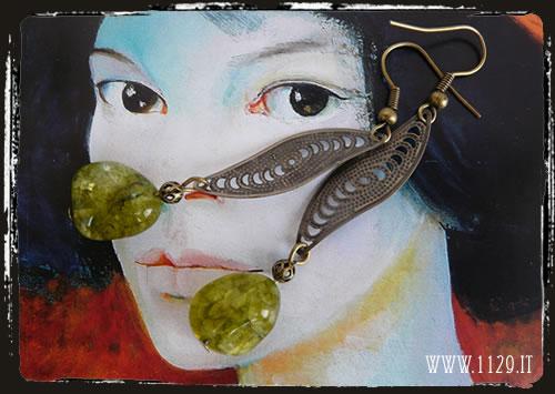 orecchini quarzo verde - green quartz earrings IIVEBR