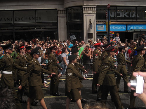 British Military march at the Gay Pride Parade in London.
