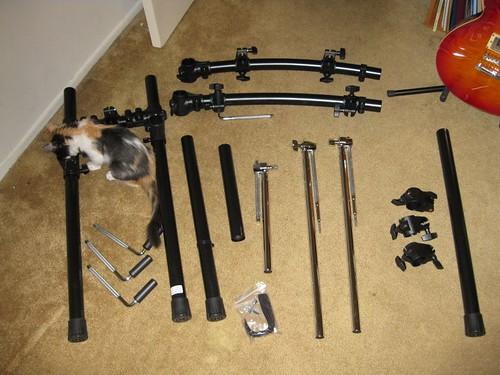 Rack parts laid out.