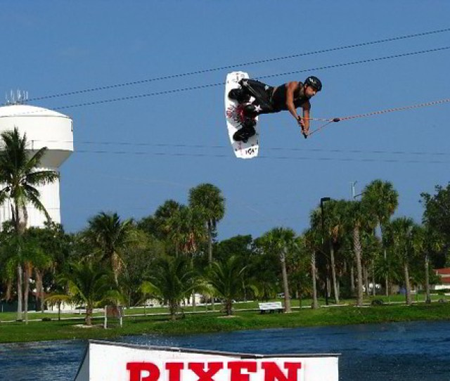 Wakeboarder Catching Air Ski Rixen Usa Cable Park Quiet Waters Park Deerfield Beach