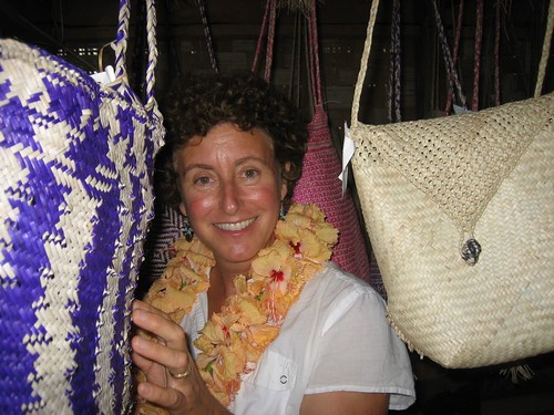 Laura checks out woven bags in Asanvari, Maewo Island