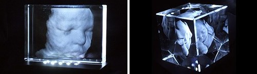 scary looking fake crystal paperweight things with 3D ultrasound image inside