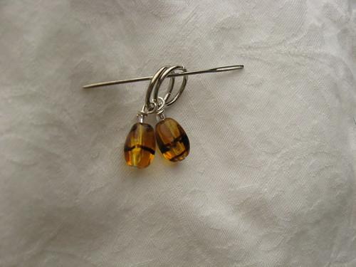 amber glass stitch markers