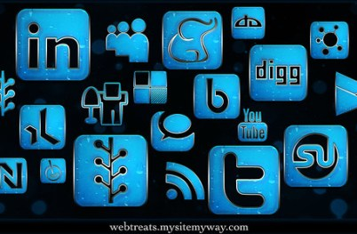 154 Blue Chrome Rain Social Media Icons