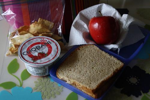 pita chips, strawberry chobani, pb & j, apple