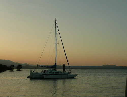 Catamaran at sunset in Port Douglas