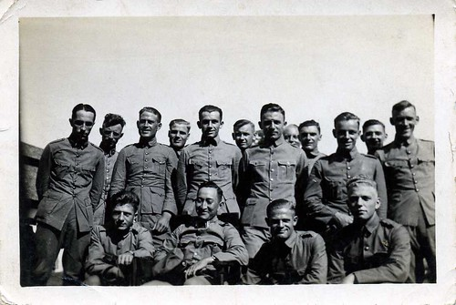 LEEN VAN DER GROEF , in the midst of his colleague KNIL-soldiers , on point-duty in Soerabaja , former Dutch Indies in the late 1930's  -  how many ór how few of these men will have survived the then already near approaching war in the east ....??!