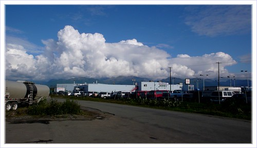 Billowy clouds over the Chugach Mountains.