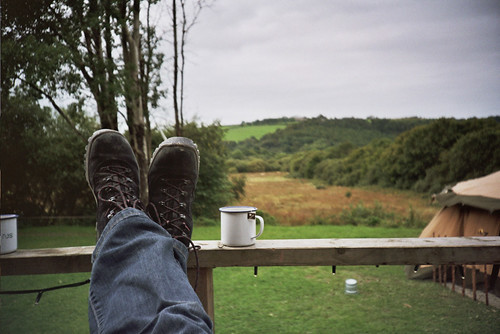 Me. My boots. My tea.