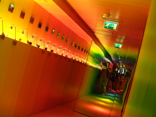 rainbow hallway with dam funhouse mirror