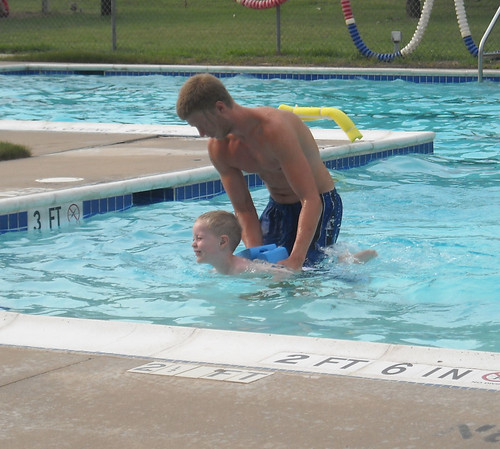 Hunter in his second week of swim lessons.