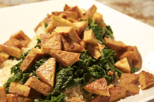 Sweet Chili Lemon Tofu with Wok Steamed Kale and Quinoa