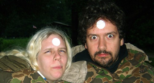 20090703 - X-Day - GEDC0261 - Carolyn, Clint - communion wafer foreheads - please click through to leave a comment on FlickR