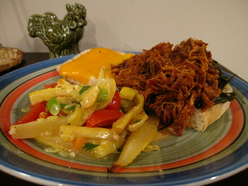 BBQ Spicy Pulled Chicken, Melted Cheddar, Collard Greens, & Onion Focaccia w/ Roasted Summer Vegetable Salad