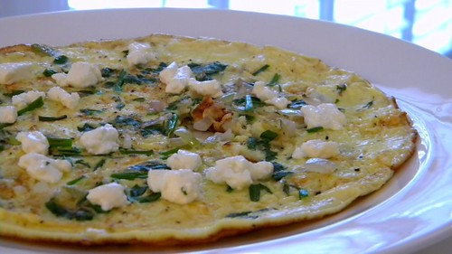 Herbed, goat cheese frittata