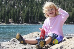 Claire on the shores of McLeod Lake in the Sierras